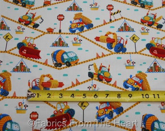 Let's Build Construction Dump Cemet Trucks on White BY YARDS Henry Glass Fabric