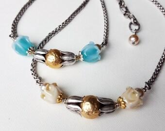 Bell Flower Necklace beaded Jewelry for Mom, Gardeners, Spring Flowers Necklace Lampwork Glass Flower Jewelry, Upcycled Jewelry veryDonna