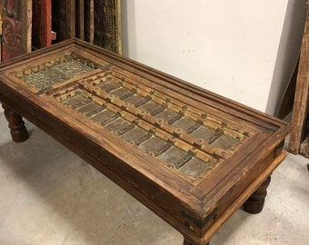 Antique Indian Handcarved Coffee Table Unique Style Hotel Design Rustic Vintage Furniture Home Decor Dining Table