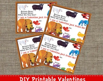 Brown Bear - Valentine Cards - DIY - Printable