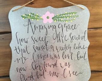"Amazing Grace Lyrics//Tin Wall Hanging//12x12""//Hand-lettered//Hand-painted"