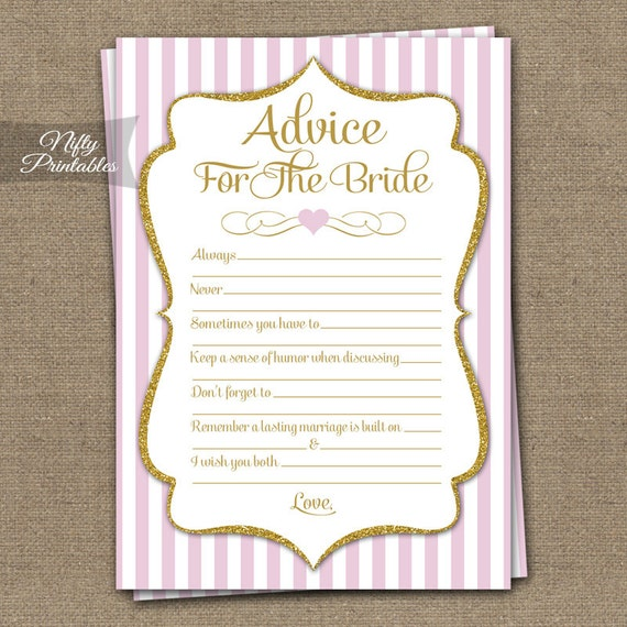 It is a graphic of Geeky Free Printable Bridal Shower Advice Cards