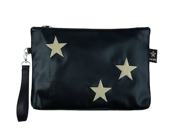 Black pouch, zipper bag, diaper mom clutch, Gold star nappy bag ,cosmetic bag,  Diaper wallet ,baby change Gift for her