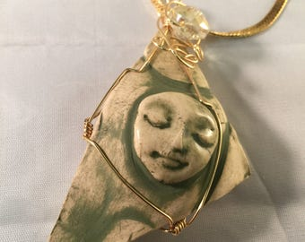 Wire Wrapped Ceramic Focal with Large Faceted Crystal Bead, Ceramic Pendant