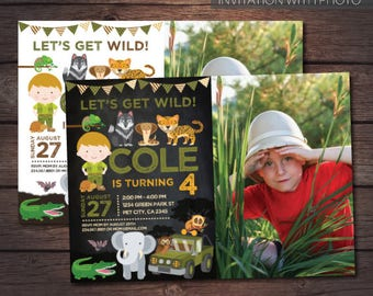 Safari Birthday Invitation with photo, Jungle Birthday Invitation with Picture, Zoo Birthday Invitation, Personalized DIGITAL, 2 Options