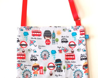 Washable, Eco-Friendly Car Trash Bag in London Scenes Fabric