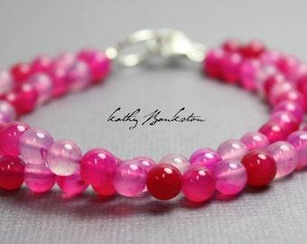 Hot Pink Bracelet, Hot Pink Chalcedony Bracelet, Beaded Pink Bracelets, Kathy Bankston, Pink Bracelets, Pink Jewelry, Pink Gemstone Bracelet
