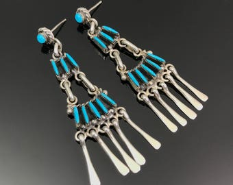 Zuni Needlepoint Petit Point Turquoise Sterling Earrings