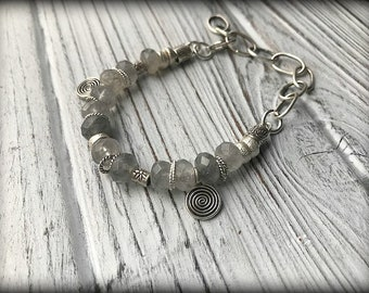 Sterling Silver Faceted Cloudy Quartz Bracelet