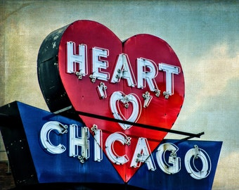 Chicago Photography, Heart o Chicago, Midcentury Decor, Fine Art Print, Vintage Sign, Lincoln Avenue, Urban Landscape, Northwest Chitown