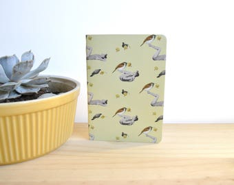 Notebook Recycled Paper,  Notebook A6, Blank Sheets, Sparrow, Collage, Pattern, Nature, Flowers, Gimnastic, Collage Vintage