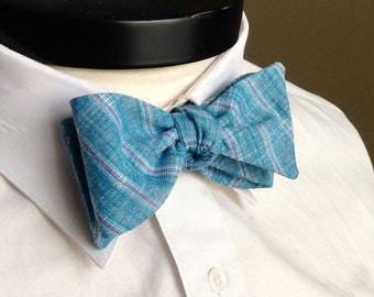 The Lennon- Our linen bowtie in teal stripes