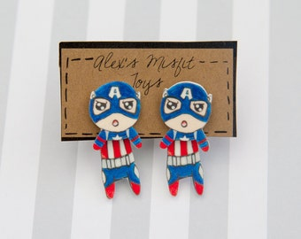 Captain America Inspired Comic Book Superhero Fake Gauge Clinging Earring