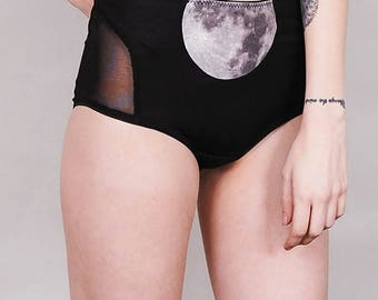 Moonrise - Moon print underwear with sheer bottom and sides - panties lingerie witch occult