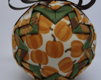 Quilted Fabric Ornament Fall Pumpkin Patch Acorns Autumn