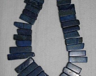 Lapis, Lapis Sticks, Lapis Rectangle, Rectangle Sticks, Natural Stone, Blue Beads, Rectangle Beads, Full Strand, 25-47 mm, AdrianasBeads