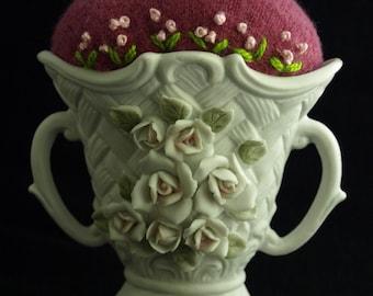 Pincushion - White Rose Basket Pincushion