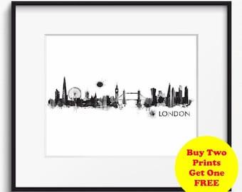 London Skyline Watercolor Black and White Art Print (704) Cityscape United Kingdom