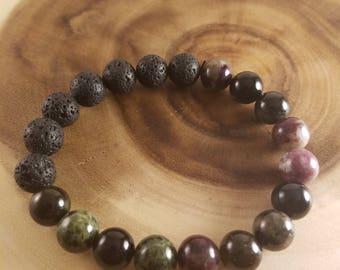 Mulitcolored Tourmaline diffuser lava stones bracelet