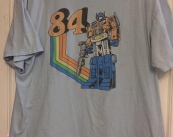"""Authentic Vintage Optimus Prime Transformers """"84"""" T-Shirt Blue Large"""