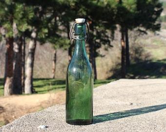 Green glass bottle, Beer bottle, Vintage bottle, Vintage glass bottle, Glass bottle with ceramic stopper, Provencal home, Vintage picnic