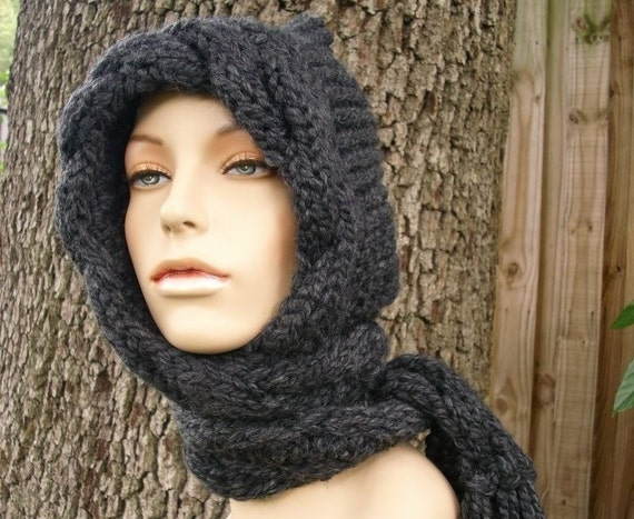 Hooded Scarves Womens Hat - Cable Scarf Hat in Charcoal Grey - Hooded Scarf Knit Hat - Grey Hat Grey Scarf - 34 Color Choices