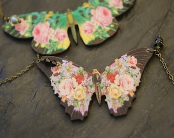 Green Floral Butterfly Pendant, Black Moth Necklace, Pink, Yellow Flowers