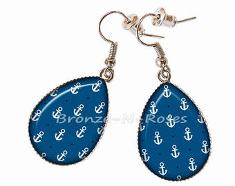 Earrings drops ° anchor Navy ° blue silver costume jewelry