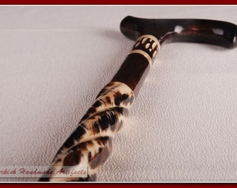 Handmade SPIRAL Unique Turkish Wooden Walking Stick Cane Canes GIFT B2