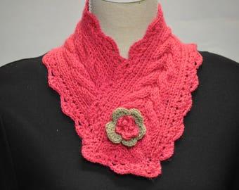 snood crochet wool acrylic fuchsia