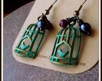 Patina Birdcage Earrings