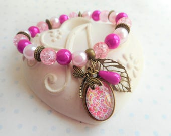 "Bracelet 18 X 13 mm vintage glass beads and cabochon ""arabesque fuchsia and yellow"" bronze, pearls, butterflies, leaves, charms"