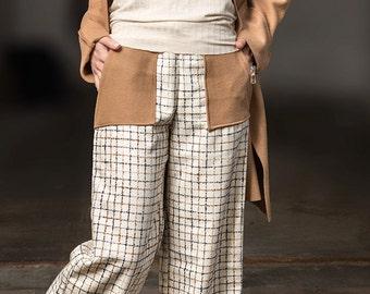 Weite Hose, Palazzo Hose, Hose wolle, Winterhose, Karierte Hose, Wollweiße warme Hose, Hose mit große Taschen, Moderne Hose von Rote Tulpe