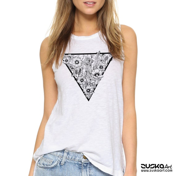 Triangle Flowers | Women Sexy & Flowy Muscle Tank | Graphic tank top | Tattoo style | Original Artwork | Pen and Ink Flowers | ZuskaArt