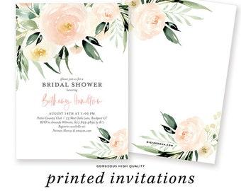 Bridal Shower Invitation, Floral Invitation, Greenery Bridal Shower Invite, Pink Floral Bridal Shower, Printed Bridal Invites with Envelopes