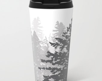 Trees Metal Travel Mug - Stainless Steel Travel Mug With Lid - Gift For Men - Gift For Women - Aldari Home