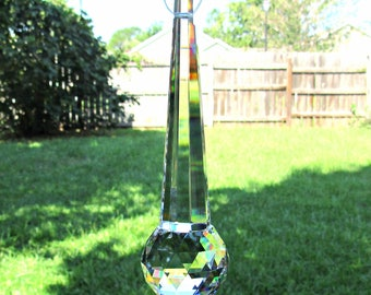 Crystal column prism with 30mm crystal ball, crystal suncatcher, large Prism, crystal ball, rainbow crystal, carved crystal, Feng shui