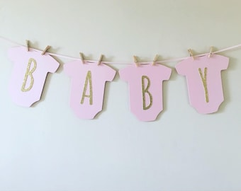 Baby Shower Bunting Baby Annoucement Banner New Baby Banner Baby Girl Bunting Baby Girl Banner onsie banner babygrow bunting