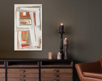 "Original abstract painting - acrylic on canvas - 12""x24"" - metallic gold - orange and gold - midmod madmen - midcentury modern - don draper"