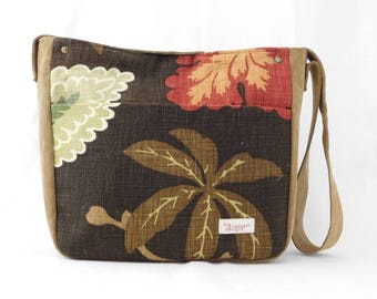 Handcrafted suede and brown, red and green cotton decorator fabric tote bag