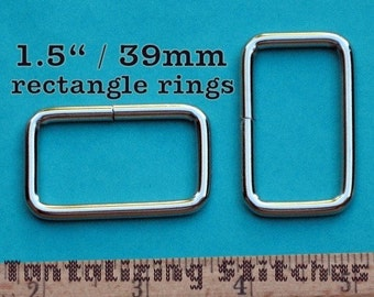 """15 pieces 1.5 Inch / 39mm Metal Wire-Formed Rectangle Rings - 24mm / 1"""" depth (available in nickel and antique brass)"""