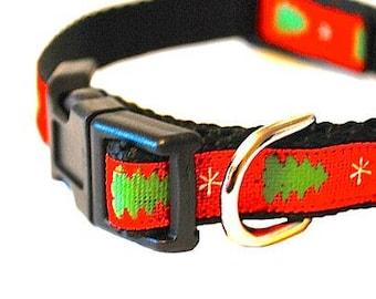 "Red Green Christmas Dog Collar, Cat Collar, Christmas Tree Collar, Winter Dog Collar, Holiday Dog Collar, 1/2"" thick collar breakaway collar"