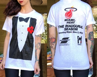 Extremely Rare Miami Heat Opening Inaugural Game Night 1988 Tuxedo Shirt M S