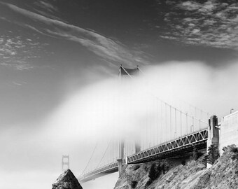 Golden Gate Bridge, San Francisco California, Black and White Matted Photograph in a Wood Frame