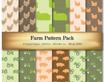 Farm Digital Scrapbook Paper Variety Pack Green Orange Animal Patterns Chickens Barn Pig Tractor - Commercial Use OK