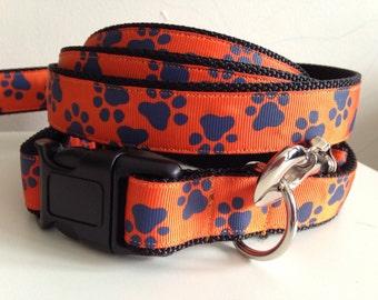 Orange and Blue Tiger Paw Prints Auburn Leash and Collar Set