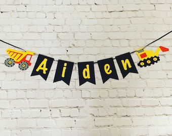 Banner; Birthday with Ribbon; Construction; Personalized; Dump Truck; Excavator; Boy birthday