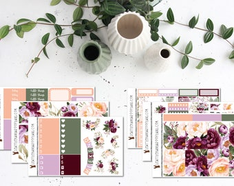Burgundy Bliss || Weekly Sticker Kit (100+ Planner Stickers) || Erin Condren, Happy Planner, Recollections || SeattleKangarooPlans