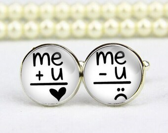Me and YOU Cufflinks, you love me, custom any text, photo, personalized cufflinks, custom wedding cufflinks, groom cufflinks, tie tacks