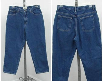 """Vintage 90s Plus Size Flannel Lined Jeans, Mom, Jeans, High Waisted Jeans, Blue Jeans, High Rise Jeans, Tapered Jeans, 33"""" Waist"""